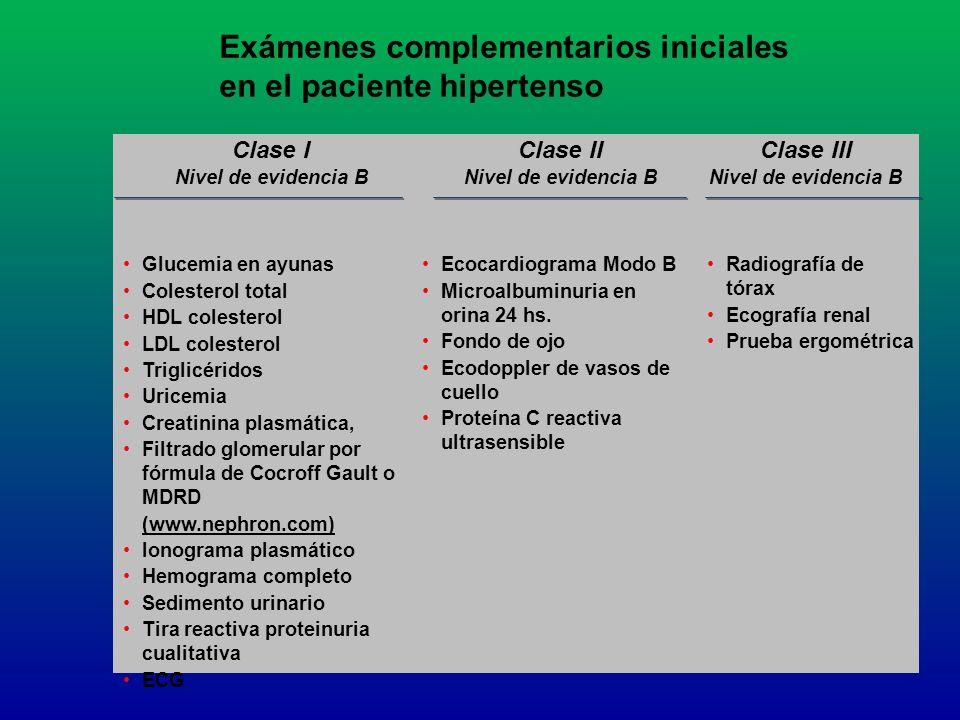 Exámenes complementarios iniciales en el paciente hipertenso