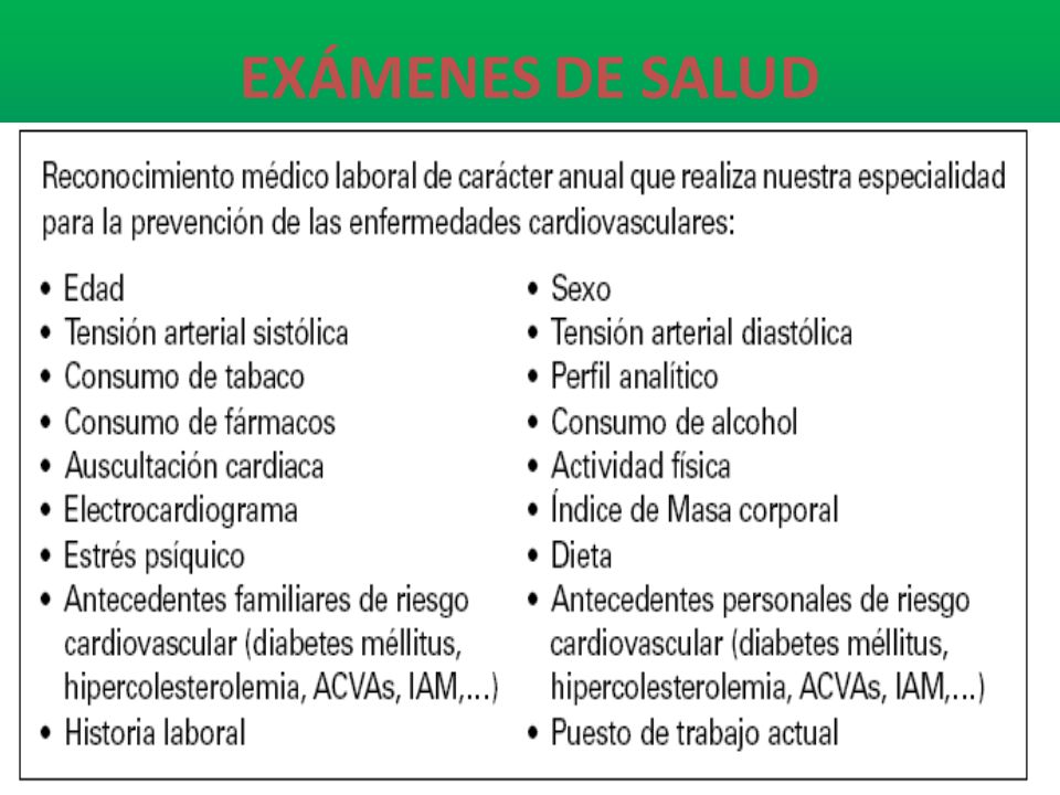 EXÁMENES DE SALUD