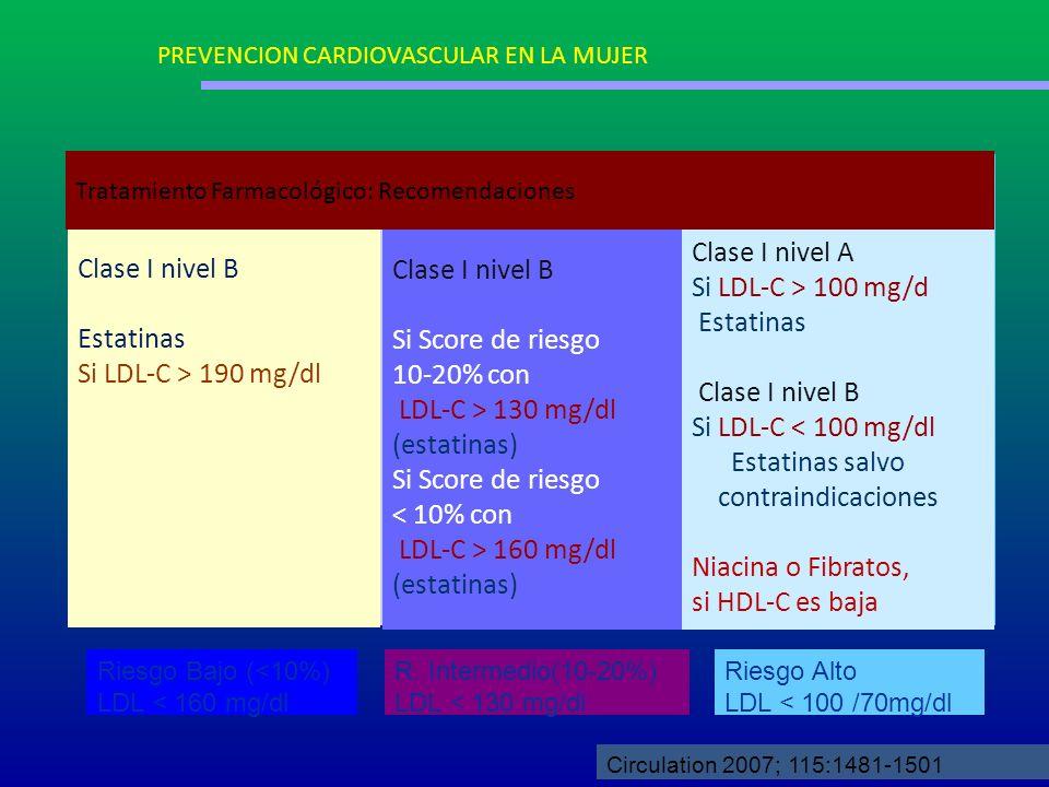 Clase I nivel A Clase I nivel B Clase I nivel B Si LDL-C > 100 mg/d
