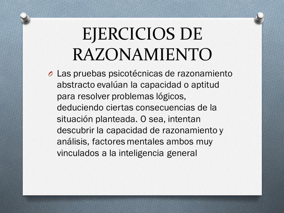 EJERCICIOS DE RAZONAMIENTO