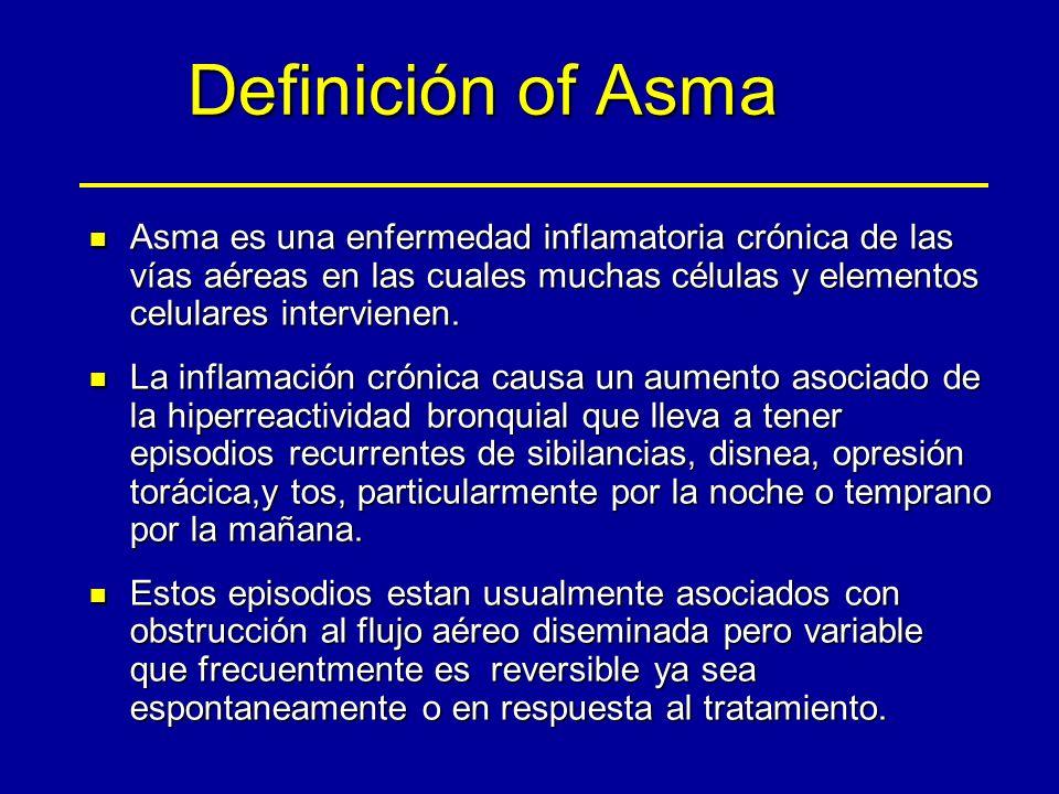 Definición of Asma Asma es una enfermedad inflamatoria crónica de las vías aéreas en las cuales muchas células y elementos celulares intervienen.