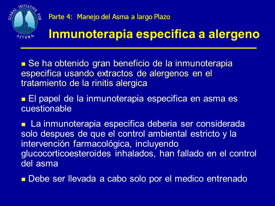 Inmunoterapia especifica a alergeno