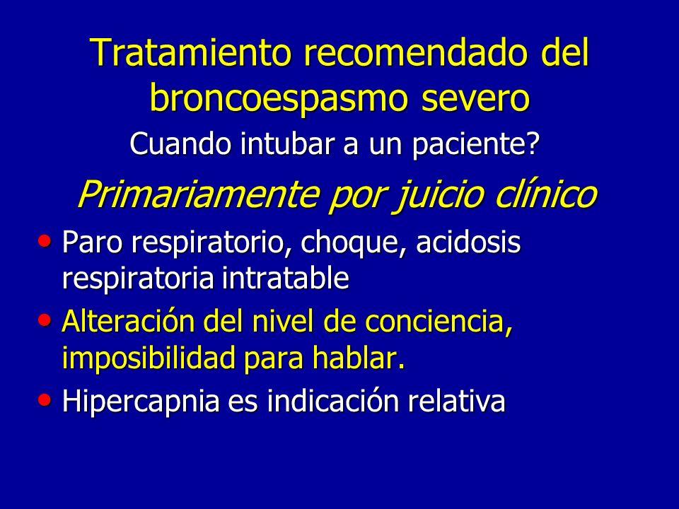 Tratamiento recomendado del broncoespasmo severo