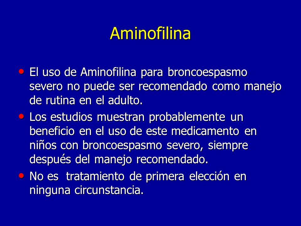 Aminofilina El uso de Aminofilina para broncoespasmo severo no puede ser recomendado como manejo de rutina en el adulto.