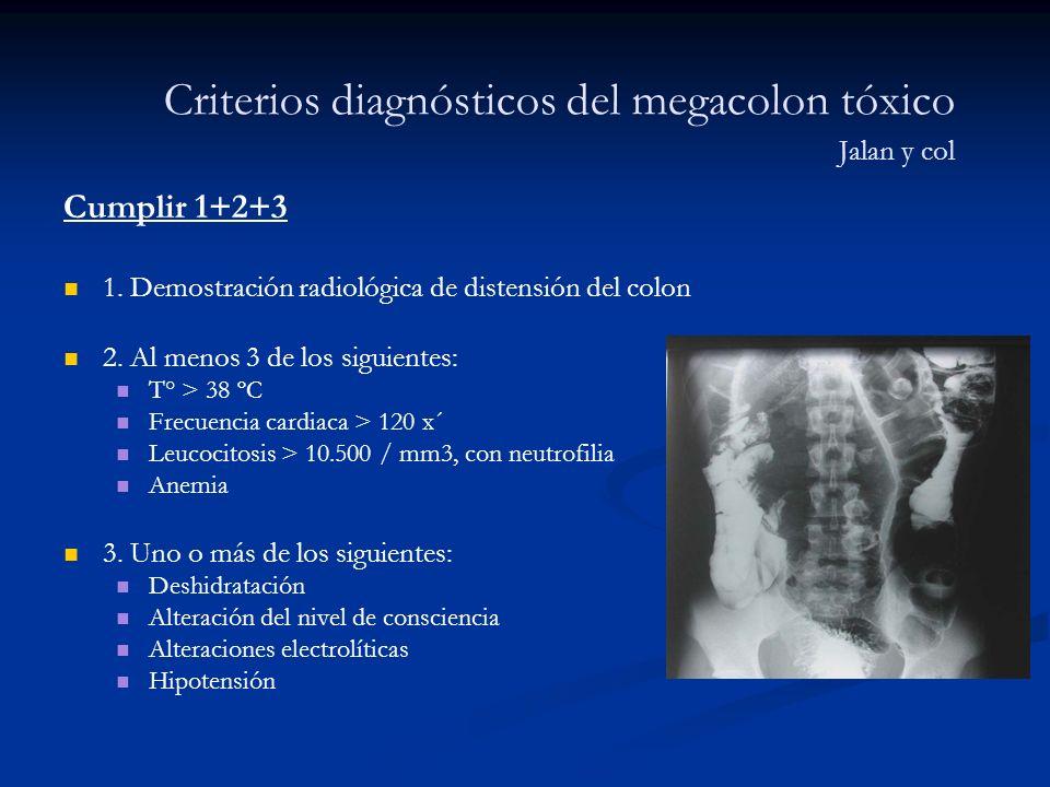 Criterios diagnósticos del megacolon tóxico Jalan y col