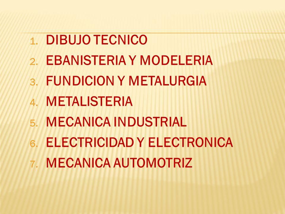 DIBUJO TECNICOEBANISTERIA Y MODELERIA. FUNDICION Y METALURGIA. METALISTERIA. MECANICA INDUSTRIAL. ELECTRICIDAD Y ELECTRONICA.