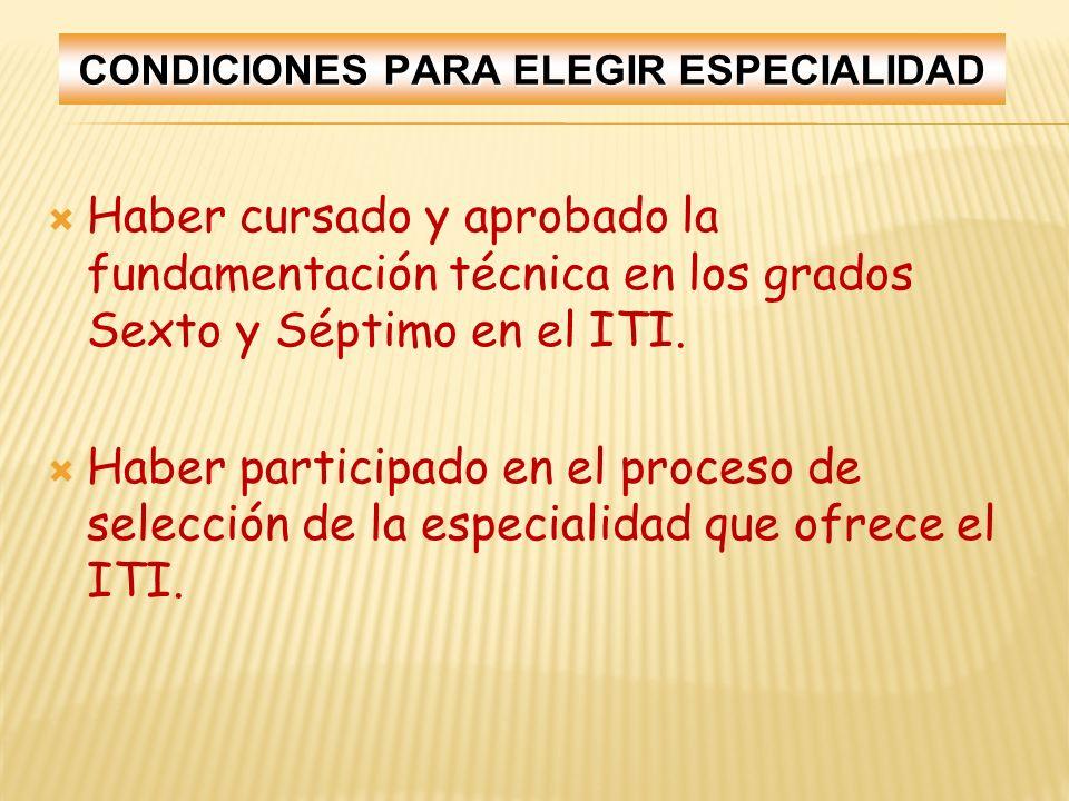 CONDICIONES PARA ELEGIR ESPECIALIDAD