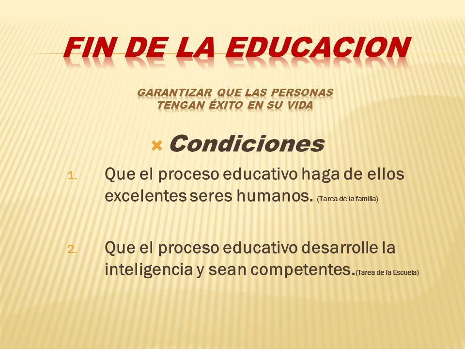 FIN DE LA EDUCACION Garantizar que las personas tengan éxito en su vida