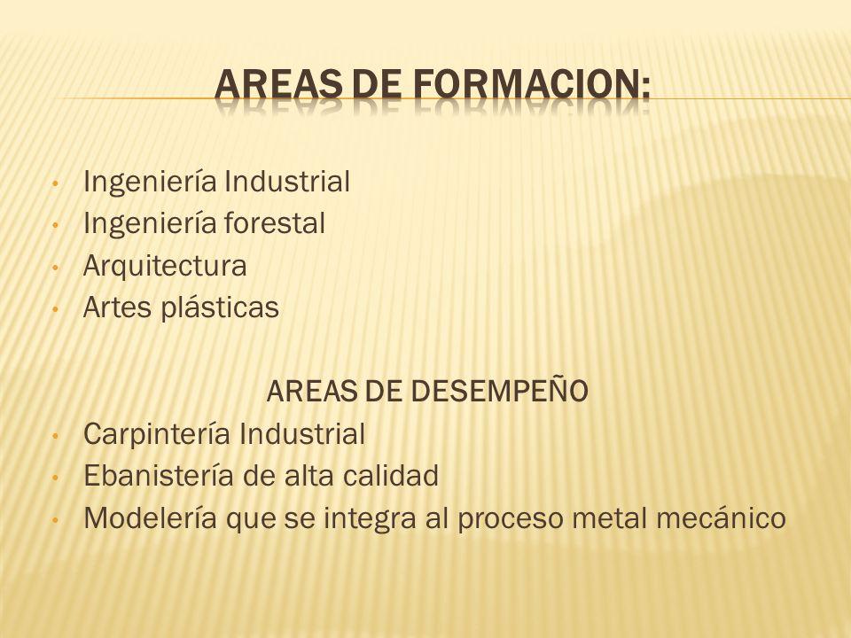 AREAS DE FORMACION: Ingeniería Industrial Ingeniería forestal