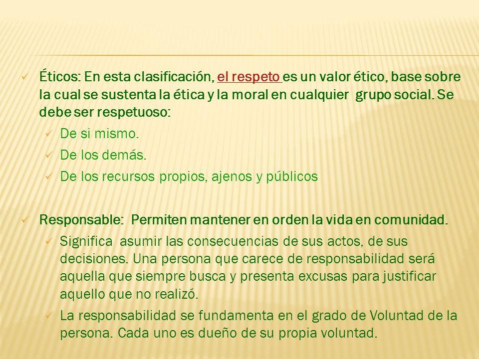 Éticos: En esta clasificación, el respeto es un valor ético, base sobre la cual se sustenta la ética y la moral en cualquier grupo social. Se debe ser respetuoso: