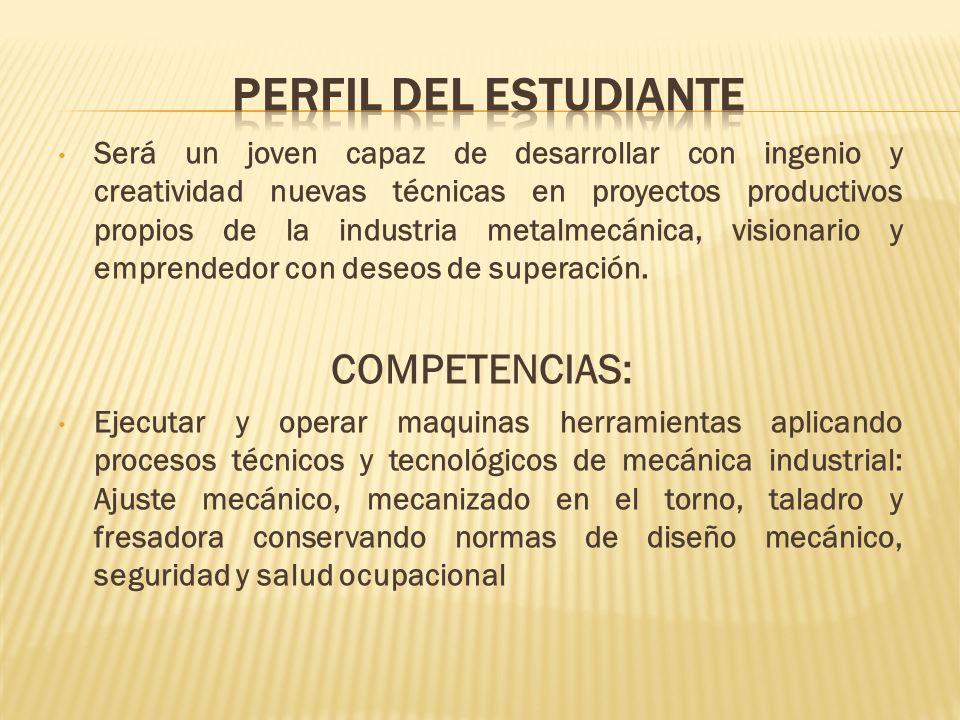 PERFIL DEL ESTUDIANTE COMPETENCIAS: