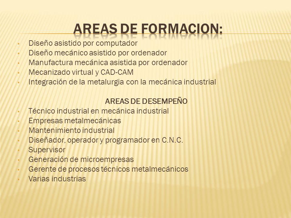 AREAS DE FORMACION: Diseño asistido por computador