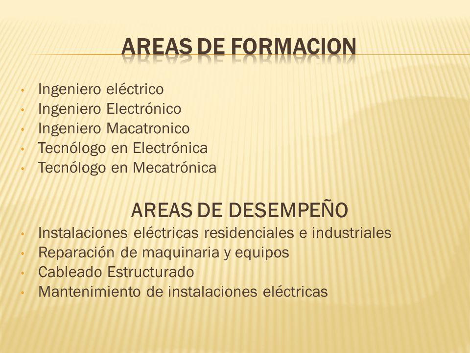AREAS DE FORMACION AREAS DE DESEMPEÑO Ingeniero eléctrico