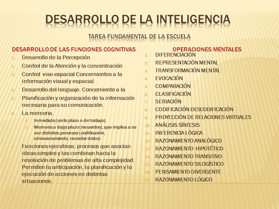 DESARROLLO DE LA INTELIGENCIA tarea fundamental de la escuela