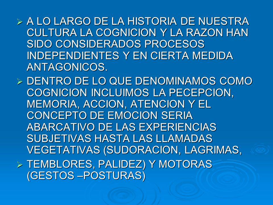 A LO LARGO DE LA HISTORIA DE NUESTRA CULTURA LA COGNICION Y LA RAZON HAN SIDO CONSIDERADOS PROCESOS INDEPENDIENTES Y EN CIERTA MEDIDA ANTAGONICOS.