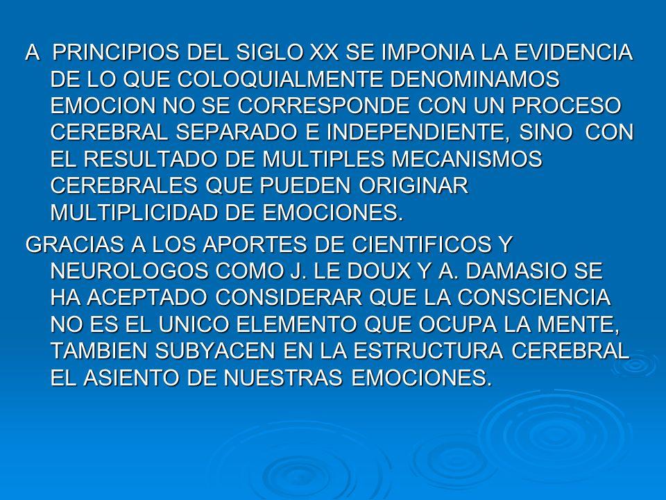 A PRINCIPIOS DEL SIGLO XX SE IMPONIA LA EVIDENCIA DE LO QUE COLOQUIALMENTE DENOMINAMOS EMOCION NO SE CORRESPONDE CON UN PROCESO CEREBRAL SEPARADO E INDEPENDIENTE, SINO CON EL RESULTADO DE MULTIPLES MECANISMOS CEREBRALES QUE PUEDEN ORIGINAR MULTIPLICIDAD DE EMOCIONES.