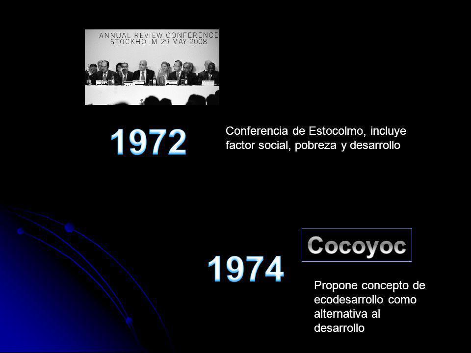 1972 1974. Conferencia de Estocolmo, incluye factor social, pobreza y desarrollo. Cocoyoc.