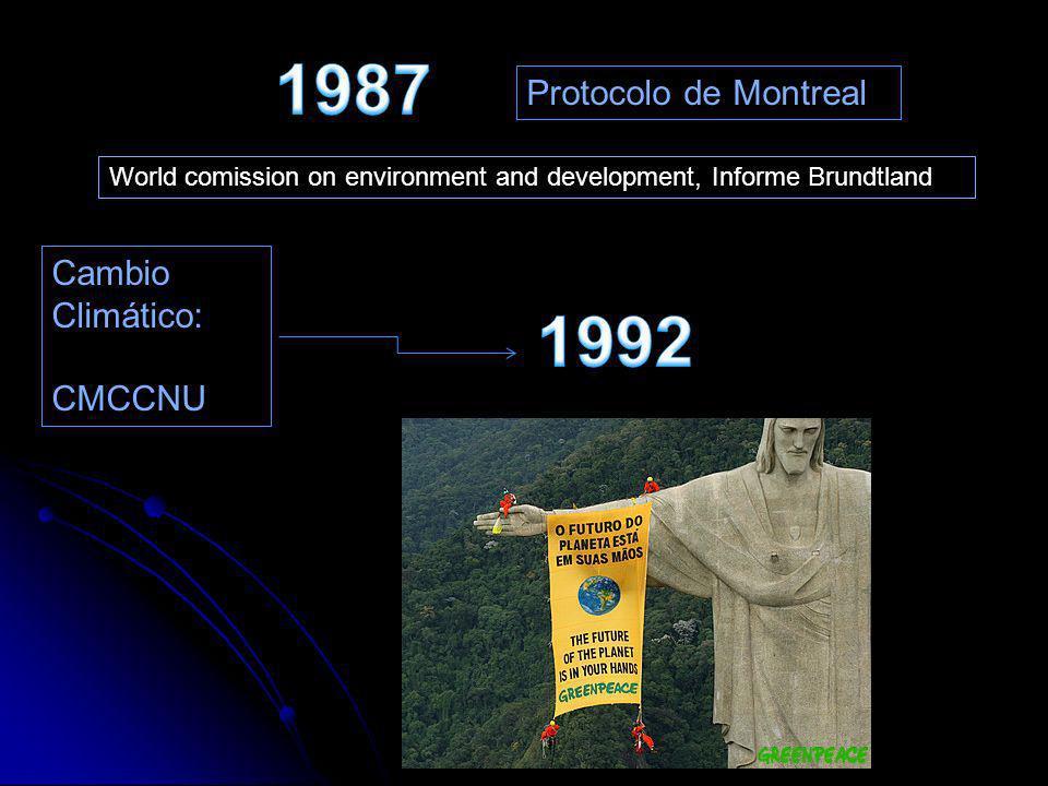 1987 1992 Protocolo de Montreal Cambio Climático: CMCCNU