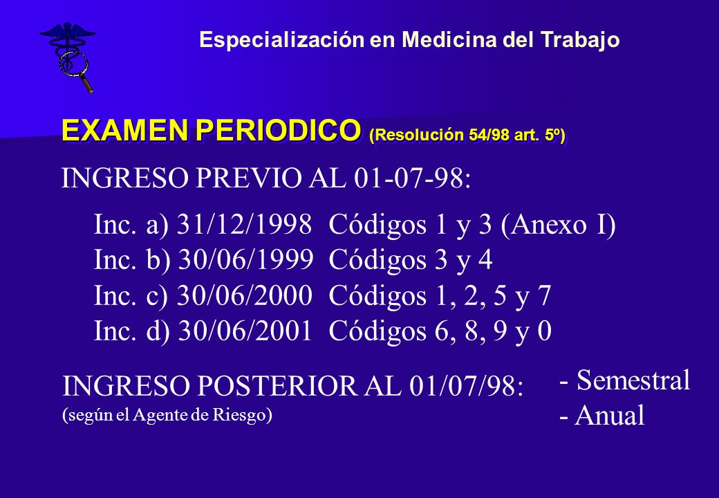 EXAMEN PERIODICO (Resolución 54/98 art. 5º)