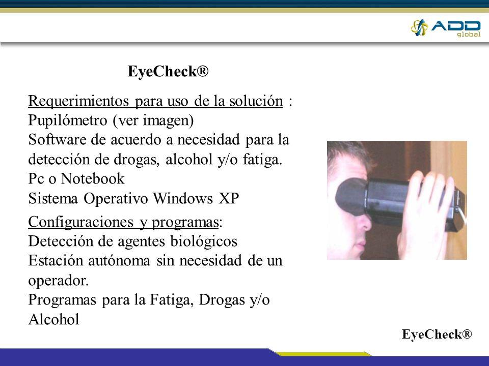 Requerimientos para uso de la solución : Pupilómetro (ver imagen)