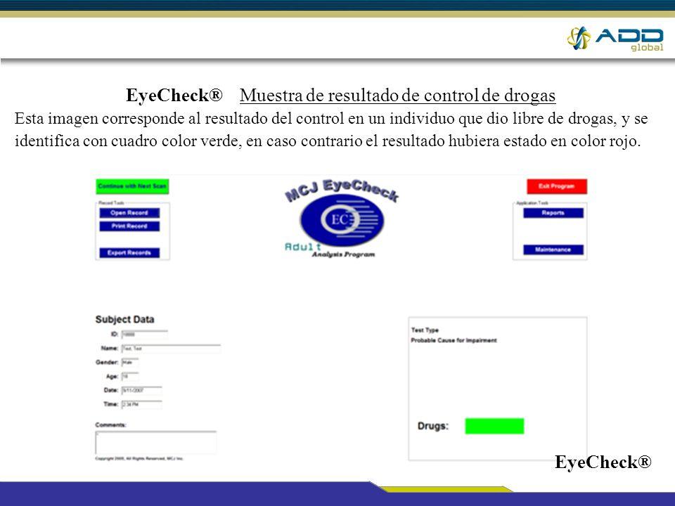 EyeCheck® Muestra de resultado de control de drogas