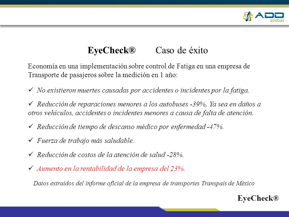 EyeCheck® Caso de éxito