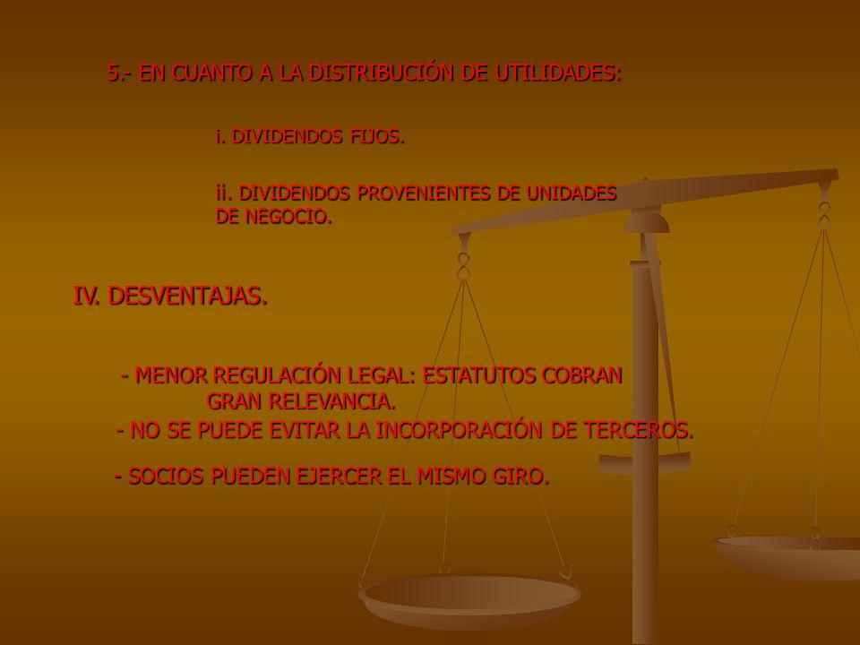 IV. DESVENTAJAS. 5.- EN CUANTO A LA DISTRIBUCIÓN DE UTILIDADES: