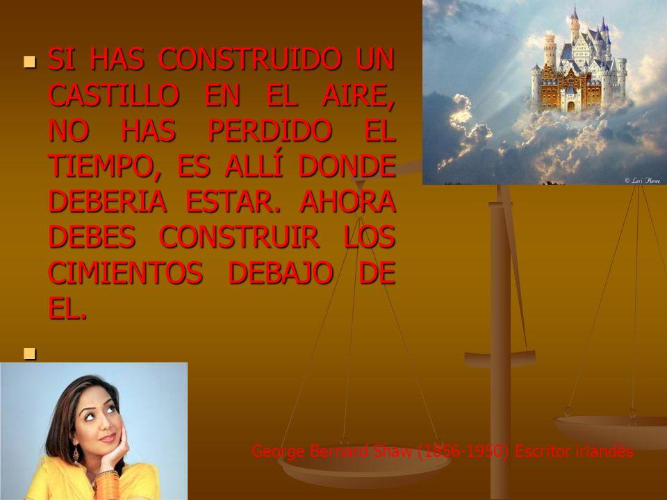 SI HAS CONSTRUIDO UN CASTILLO EN EL AIRE, NO HAS PERDIDO EL TIEMPO, ES ALLÍ DONDE DEBERIA ESTAR. AHORA DEBES CONSTRUIR LOS CIMIENTOS DEBAJO DE EL.