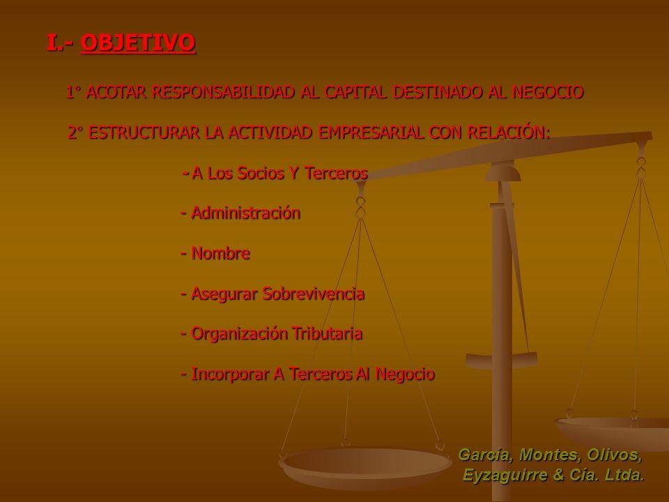 I.- OBJETIVO 1° ACOTAR RESPONSABILIDAD AL CAPITAL DESTINADO AL NEGOCIO