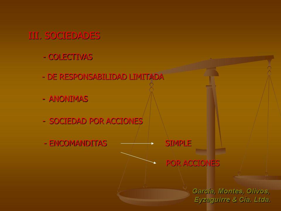 III. SOCIEDADES - COLECTIVAS - DE RESPONSABILIDAD LIMITADA - ANONIMAS