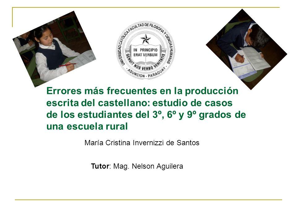Errores más frecuentes en la producción escrita del castellano: estudio de casos de los estudiantes del 3º, 6º y 9º grados de una escuela rural