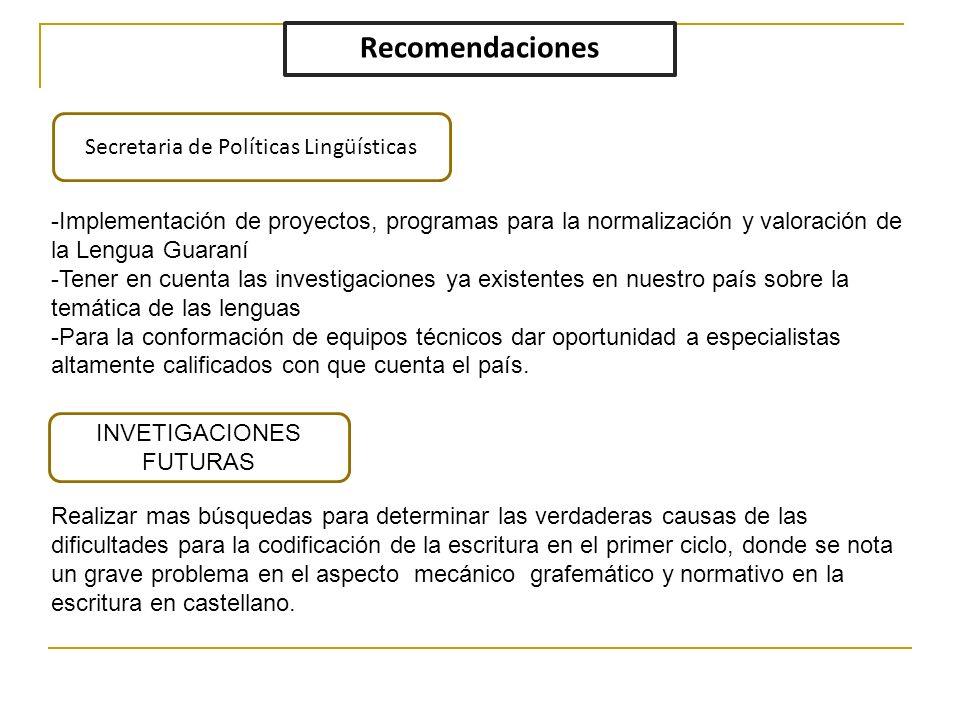Recomendaciones Secretaria de Políticas Lingüísticas