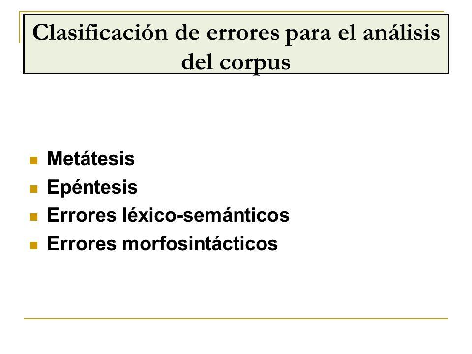 Clasificación de errores para el análisis del corpus
