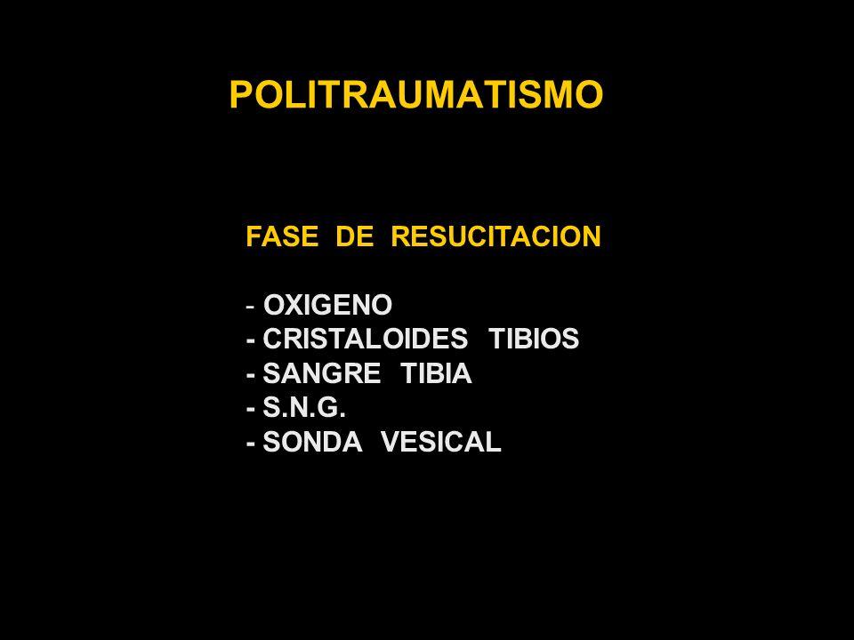 POLITRAUMATISMO FASE DE RESUCITACION OXIGENO - CRISTALOIDES TIBIOS
