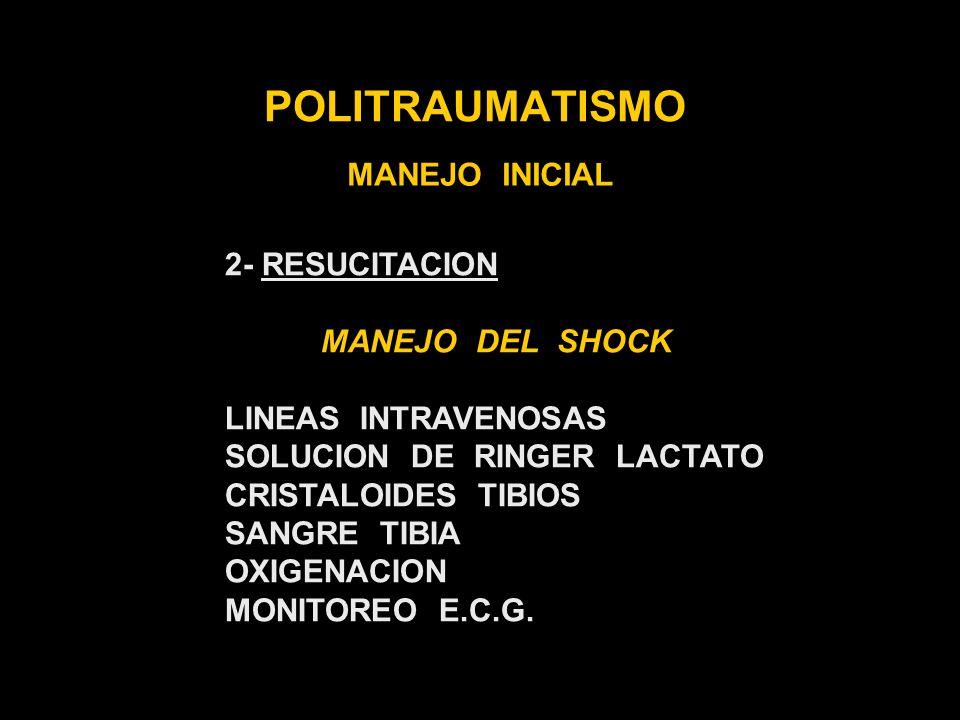 POLITRAUMATISMO MANEJO INICIAL 2- RESUCITACION MANEJO DEL SHOCK