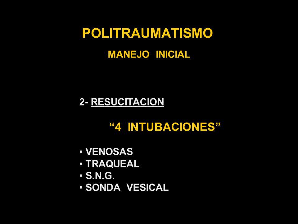 POLITRAUMATISMO MANEJO INICIAL 2- RESUCITACION 4 INTUBACIONES