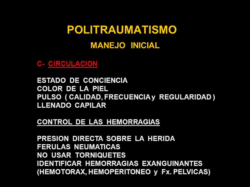 POLITRAUMATISMO MANEJO INICIAL C- CIRCULACION ESTADO DE CONCIENCIA
