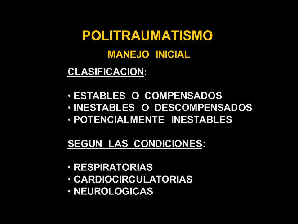 POLITRAUMATISMO MANEJO INICIAL CLASIFICACION: ESTABLES O COMPENSADOS