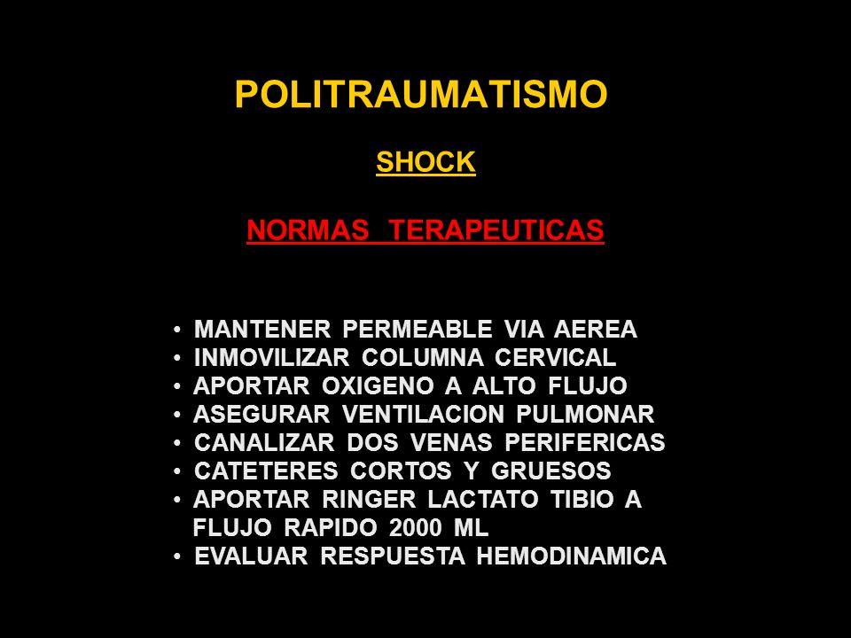 POLITRAUMATISMO SHOCK NORMAS TERAPEUTICAS MANTENER PERMEABLE VIA AEREA