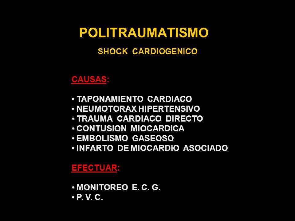 POLITRAUMATISMO SHOCK CARDIOGENICO CAUSAS: TAPONAMIENTO CARDIACO