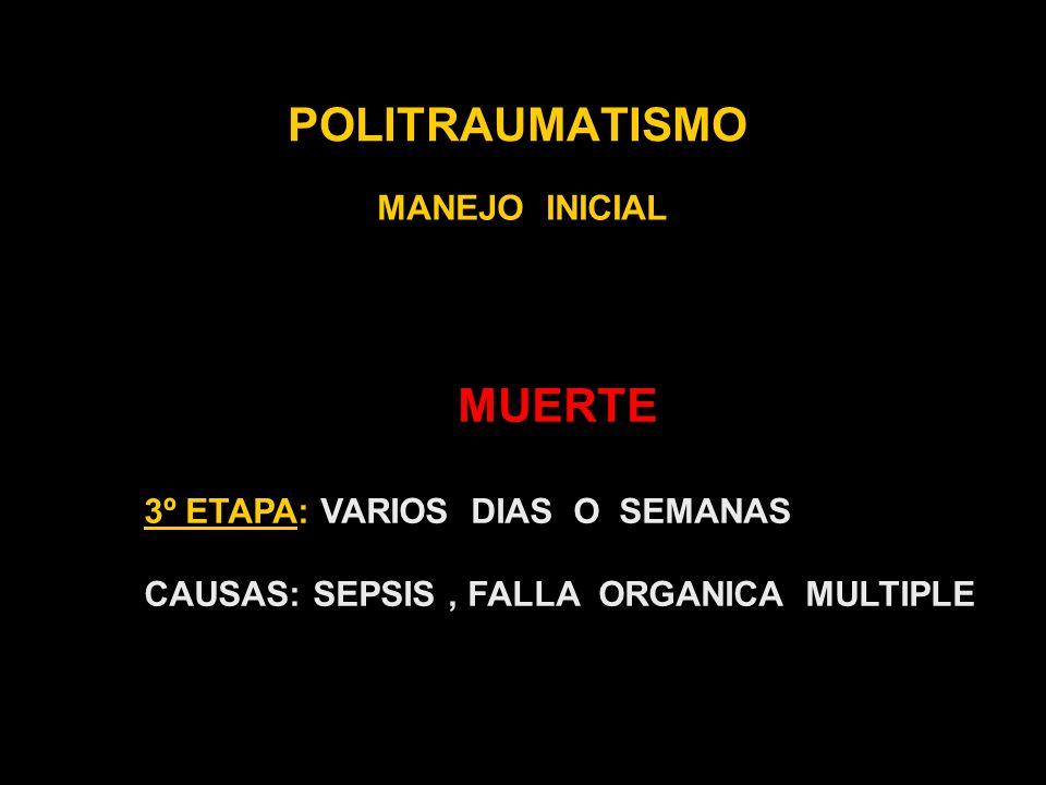 POLITRAUMATISMO MANEJO INICIAL MUERTE 3º ETAPA: VARIOS DIAS O SEMANAS