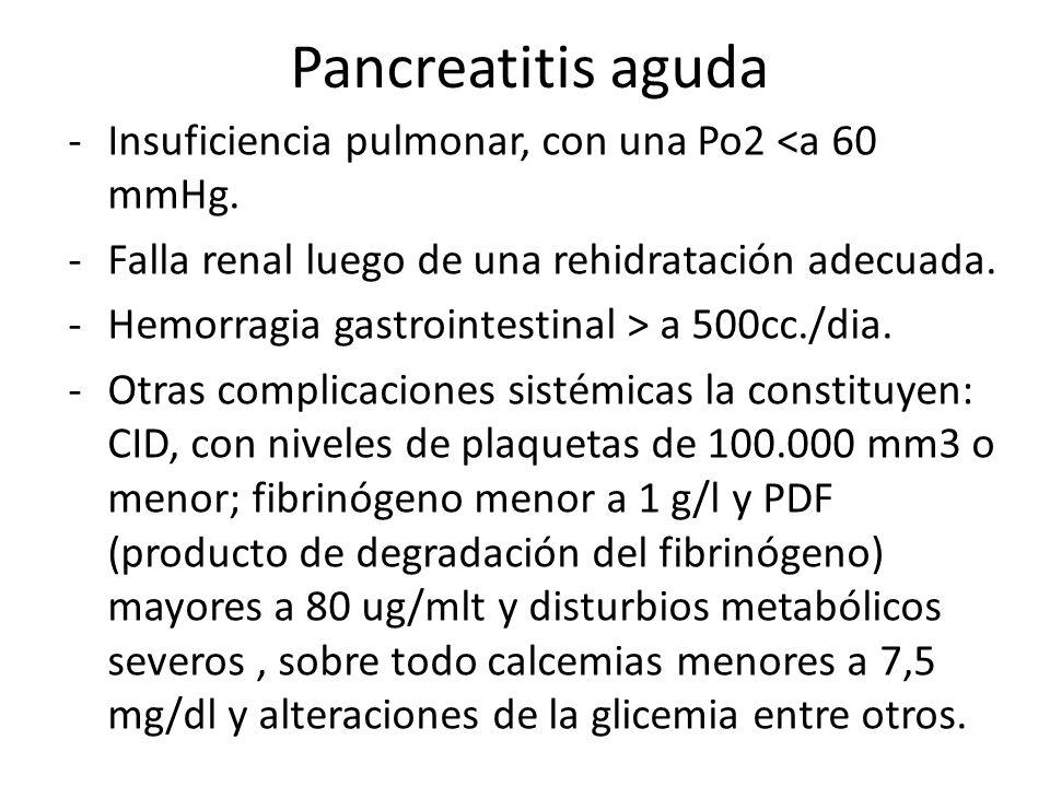 Pancreatitis aguda Insuficiencia pulmonar, con una Po2 <a 60 mmHg.