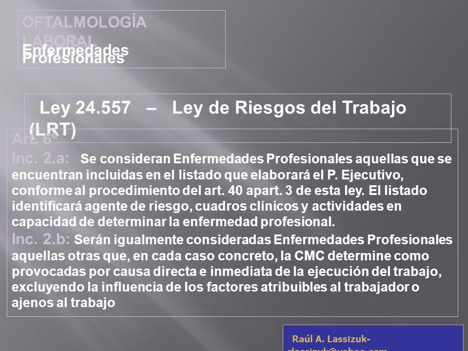 Ley 24.557 – Ley de Riesgos del Trabajo (LRT)