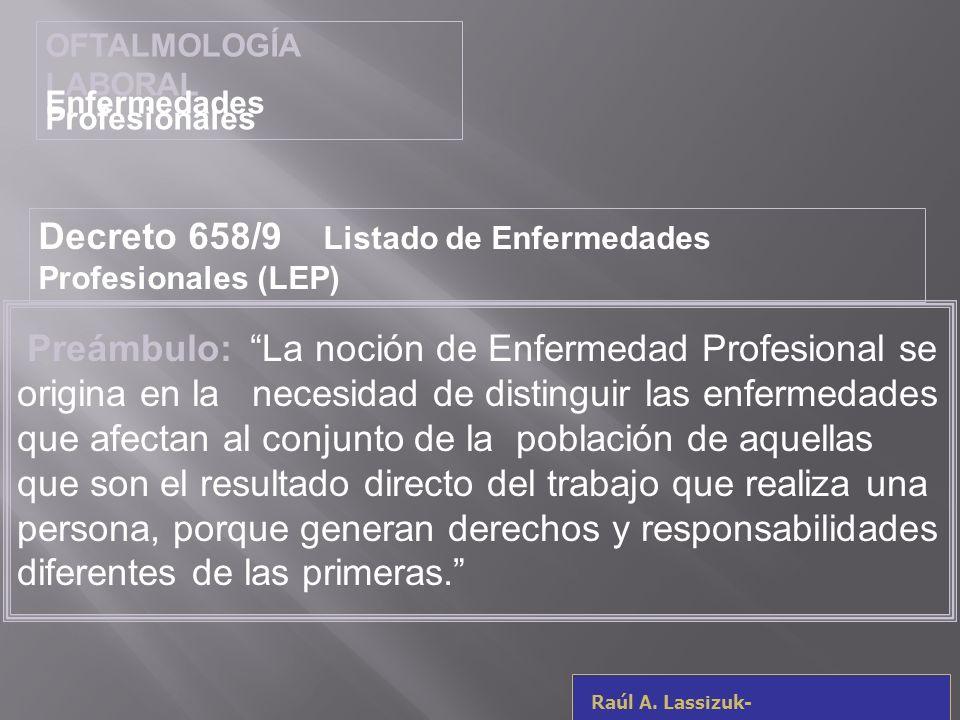 Decreto 658/9 Listado de Enfermedades Profesionales (LEP)