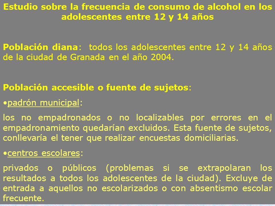 Estudio sobre la frecuencia de consumo de alcohol en los adolescentes entre 12 y 14 años
