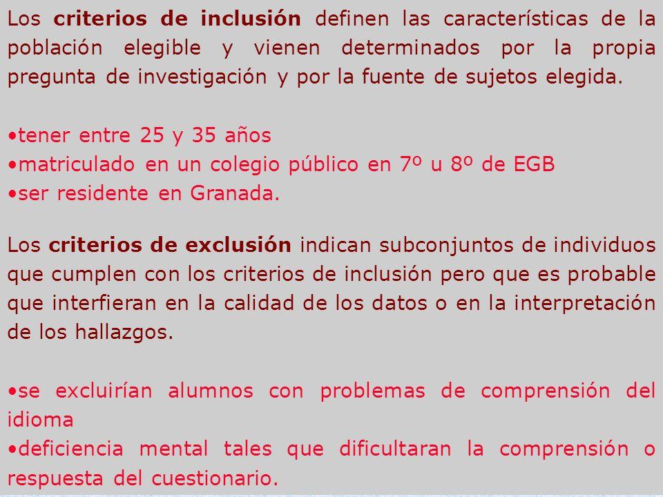 Los criterios de inclusión definen las características de la población elegible y vienen determinados por la propia pregunta de investigación y por la fuente de sujetos elegida.