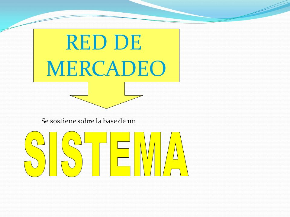 RED DE MERCADEO Se sostiene sobre la base de un SISTEMA