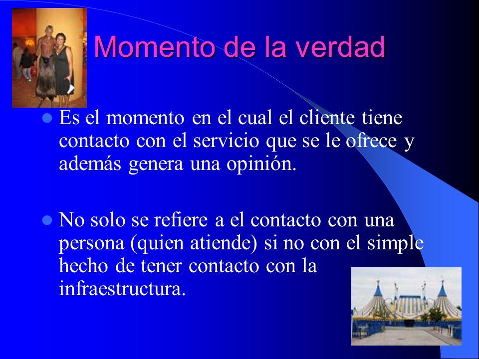 Momento de la verdad Es el momento en el cual el cliente tiene contacto con el servicio que se le ofrece y además genera una opinión.