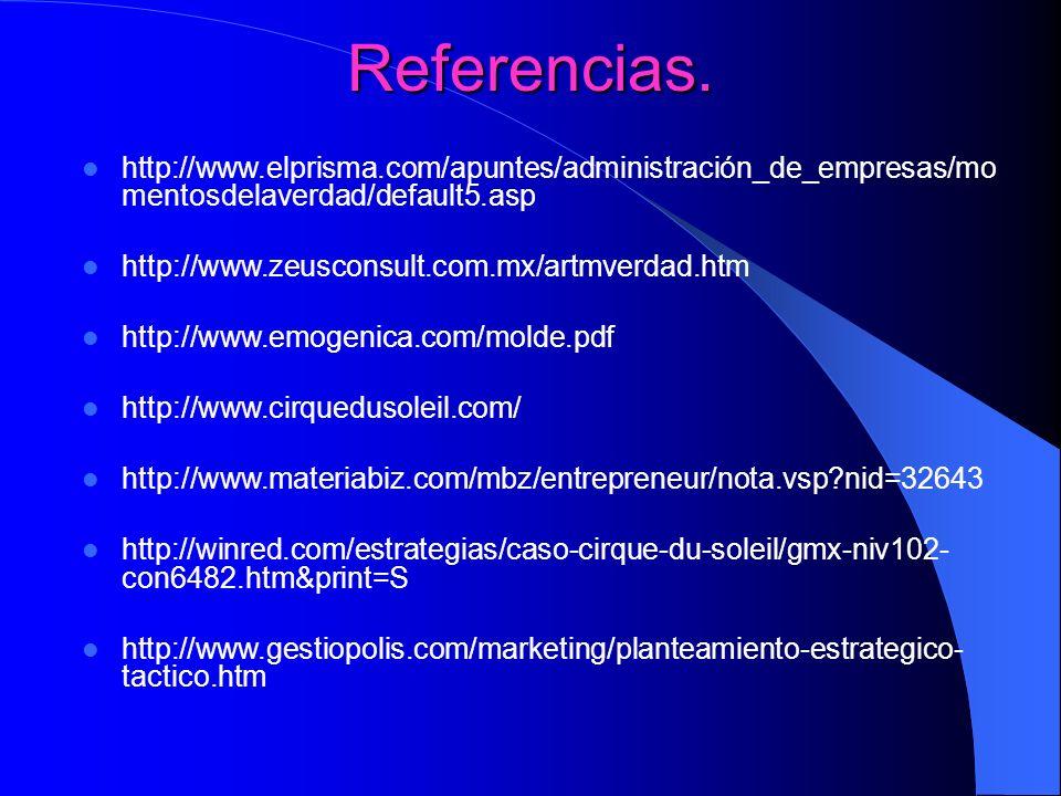 Referencias. http://www.elprisma.com/apuntes/administración_de_empresas/momentosdelaverdad/default5.asp.