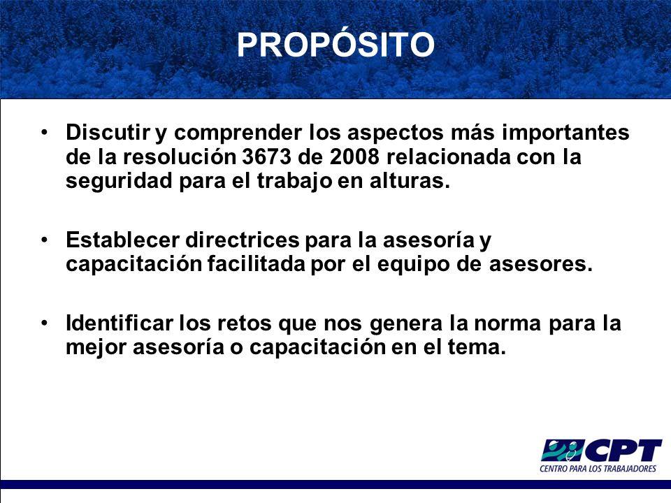PROPÓSITO Discutir y comprender los aspectos más importantes de la resolución 3673 de 2008 relacionada con la seguridad para el trabajo en alturas.